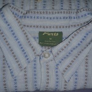 Linen casual blue button down medium